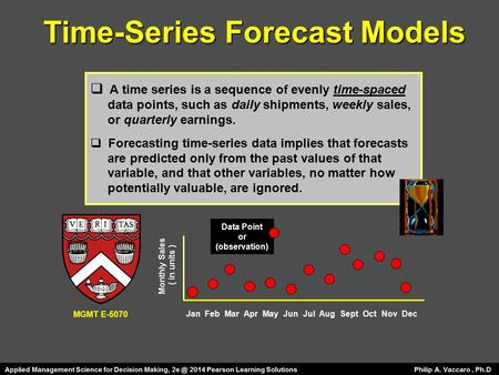 Time-Series Forecast Models  A time series is a sequence of evenly time-spaced data points, such as daily shipments, weekly sales, or quarterly earnings.