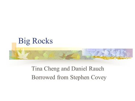 Big Rocks Tina Cheng and Daniel Rauch Borrowed from Stephen Covey.