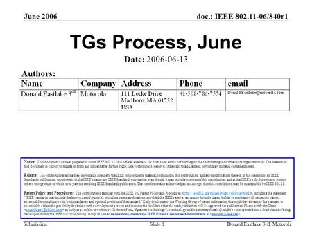 Doc.: IEEE 802.11-06/840r1 Submission June 2006 Donald Eastlake 3rd, MotorolaSlide 1 TGs Process, June Notice: This document has been prepared to assist.