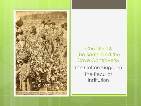 Chapter 16 The South and the Slave Controversy