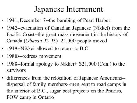 Japanese Internment 1941, December 7--the bombing of Pearl Harbor