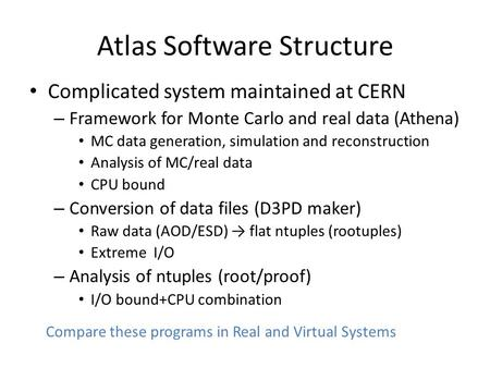 Atlas Software Structure Complicated system maintained at CERN – Framework for Monte Carlo and real data (Athena) MC data generation, simulation and reconstruction.