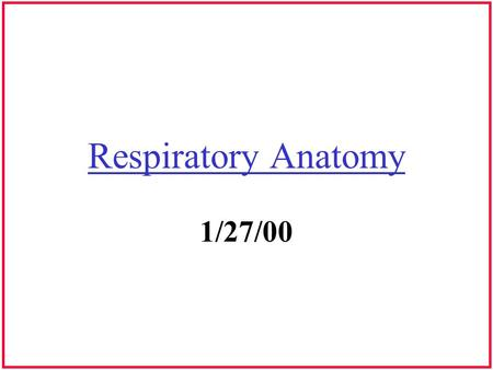 Respiratory Anatomy 1/27/00. Anatomical Planes Superior Inferior Anterior Posterior Lateral Transverse Coronal Sagittal.