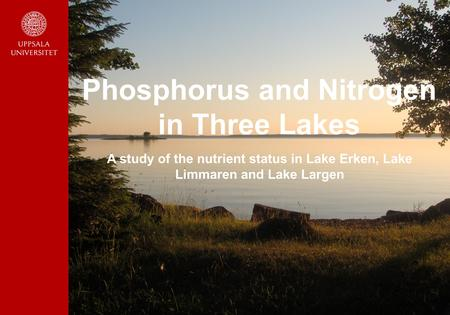 Phosphorus and Nitrogen in Three Lakes A study of the nutrient status in Lake Erken, Lake Limmaren and Lake Largen.