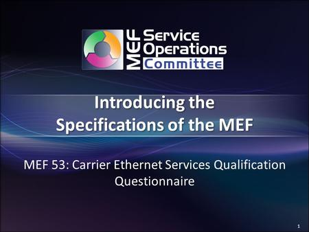 1 Introducing the Specifications of the MEF MEF 53: Carrier Ethernet Services Qualification Questionnaire.