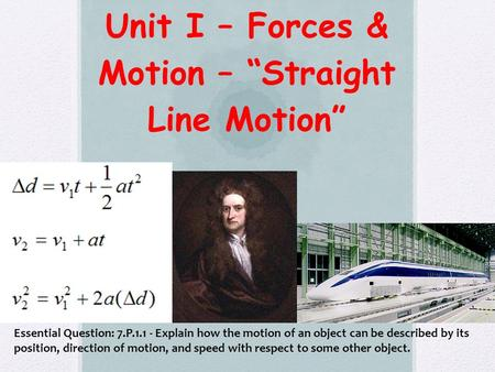 "Unit I – Forces & Motion – ""Straight Line Motion"" Essential Question: 7.P.1.1 - Explain how the motion of an object can be described by its position, direction."