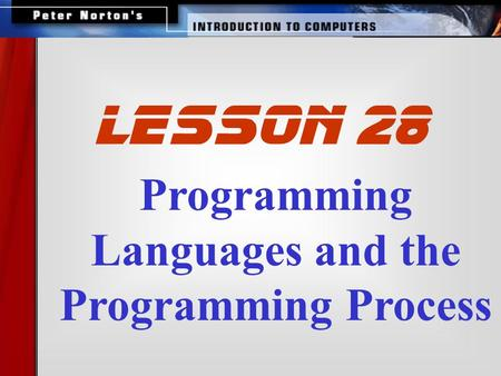 Programming Languages and the Programming Process lesson 28.