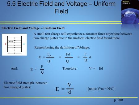 5.5 Electric Field and Voltage – Uniform Field p. 200 Electric Field and Voltage – Uniform Field A small test charge will experience a constant force anywhere.