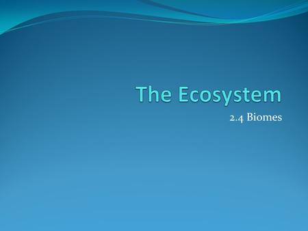 2.4 Biomes. Assessment Statements 2.4.1 Define the term biome 2.4.2 Explain the distribution, structure, and relative productivity of tropical rainforests,