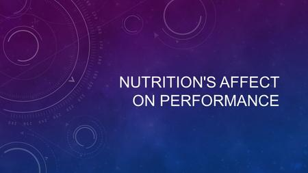 NUTRITION'S AFFECT ON PERFORMANCE. Is it possible that your diet affects your performance? Athletically? Academically? NUTRITION AFFECT PERFORMANCE?