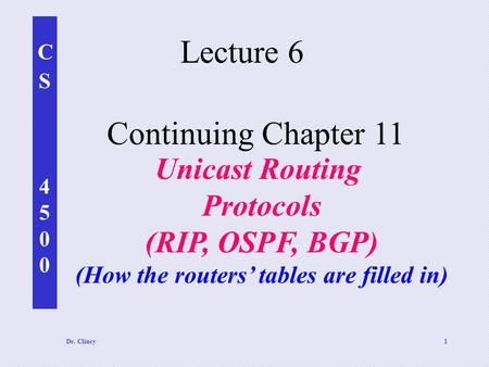 CS4500CS4500 Dr. Clincy1 Continuing Chapter 11 Unicast Routing Protocols (RIP, OSPF, BGP) (How the routers' tables are filled in) Lecture 6.