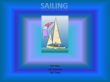 237 Men 143 Women 380 Total. In the water of Weymouth Bay and Portland Harbor the sailing competition will be. Sailing requires plenty of skill and nerve,