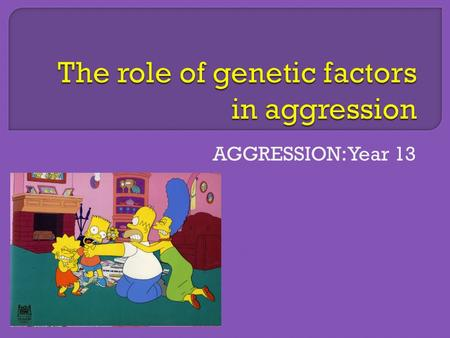AGGRESSION: Year 13.  Genes are the 'hand behind the scenes'... directing testosterone's actions...