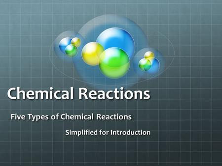 Chemical Reactions Five Types of Chemical Reactions Simplified for Introduction.