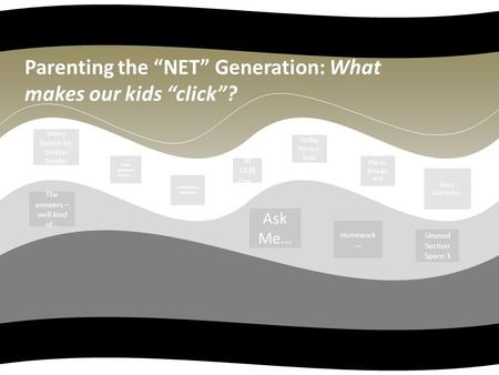 "Parenting the ""NET"" Generation: What makes our kids ""click""? The answers – well kind of… Ask Me… Homework … Unused Section Space 1 Slides before 1st Section."