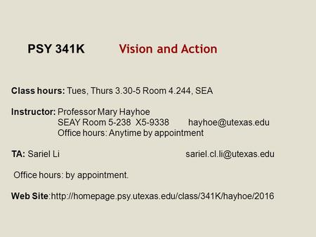 PSY 341K Vision and Action Class hours: Tues, Thurs 3.30-5 Room 4.244, SEA Instructor: Professor Mary Hayhoe SEAY Room 5-238 X5-9338