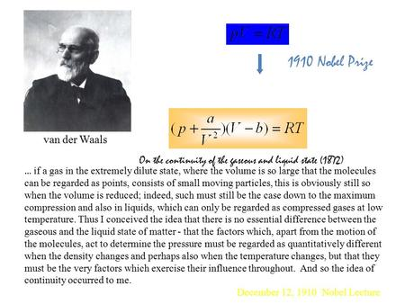 1910 Nobel Prize van der Waals On the continuity of the gaseous and liquid state (1872) … if a gas in the extremely dilute state, where the volume is.