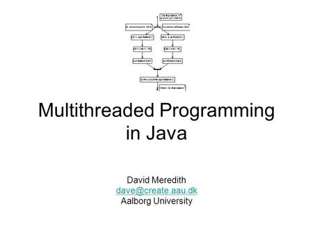 Multithreaded Programming in Java David Meredith Aalborg University.