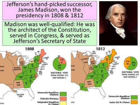 Jefferson's hand-picked successor, James Madison, won the presidency in 1808 & 1812 Madison was well-qualified: He was the architect of the Constitution,