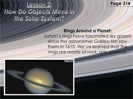 Rings Around a Planet: Saturn's rings have fascinated sky gazers since the astronomer Galileo first saw them in 1610. We've learned that the rings are.