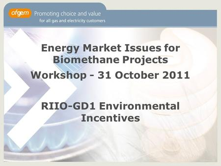 Energy Market Issues for Biomethane Projects Workshop - 31 October 2011 RIIO-GD1 Environmental Incentives.