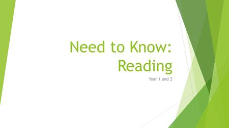 Need to Know: Reading Year 1 and 2. Year 1 Need to Know: Know all phonics expected for year group Know which words appear again and again in texts Recognise.