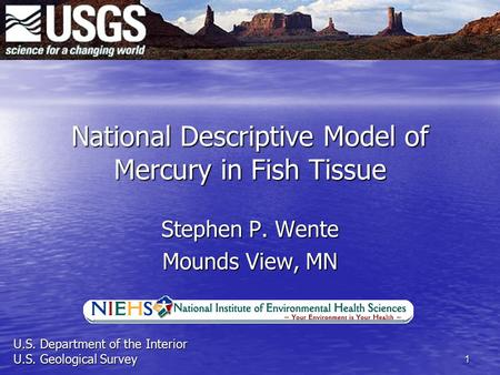 1 National Descriptive Model of Mercury in Fish Tissue Stephen P. Wente Mounds View, MN U.S. Department of the Interior U.S. Geological Survey.