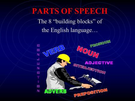 "PARTS OF SPEECH The 8 ""building blocks"" of the English language…"