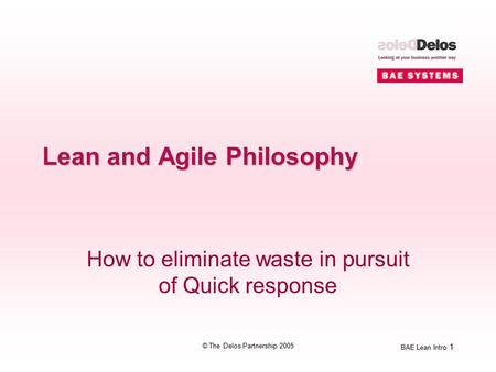 BAE Lean Intro 1 © The Delos Partnership 2005 Lean and Agile Philosophy How to eliminate waste in pursuit of Quick response.