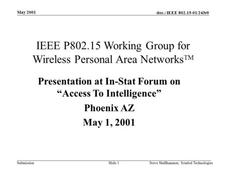 Doc.: IEEE 802.15-01/243r0 Submission May 2001 Slide 1Steve Shellhammer, Symbol Technologies IEEE P802.15 Working Group for Wireless Personal Area Networks.