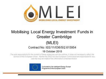 Mobilising Local Energy Investment Funds in Greater Cambridge (MLEI) Contract No: IEE/11/036/SI2.615954 19 October 2015 The sole responsibility for the.