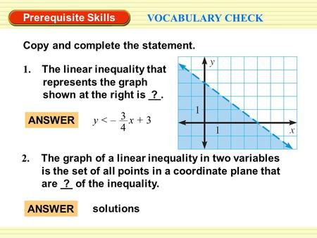 Prerequisite Skills VOCABULARY CHECK Copy and complete the statement. 2. The graph of a linear inequality in two variables is the set of all points in.