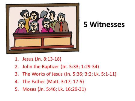 5 Witnesses 1.Jesus (Jn. 8:13-18) 2.John the Baptizer (Jn. 5:33; 1:29-34) 3.The Works of Jesus (Jn. 5:36; 3:2; Lk. 5:1-11) 4.The Father (Matt. 3:17; 17:5)