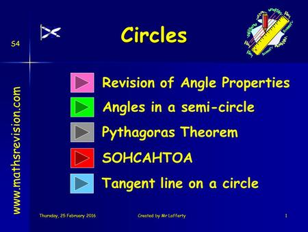 Thursday, 25 February 2016Thursday, 25 February 2016Thursday, 25 February 2016Thursday, 25 February 2016Created by Mr Lafferty1 Circles Revision of Angle.
