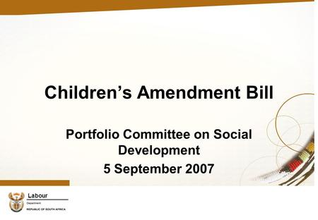 Labour Children's Amendment Bill Portfolio Committee on Social Development 5 September 2007.