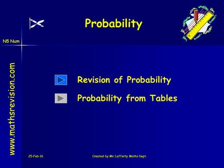 N5 Num 25-Feb-16Created by Mr. Lafferty Maths Dept. Probability www.mathsrevision.com Revision of Probability Probability from Tables.