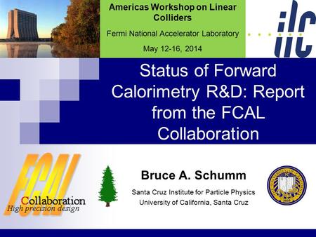 Status of Forward Calorimetry R&D: Report from the FCAL Collaboration Bruce A. Schumm Santa Cruz Institute for Particle Physics University of California,