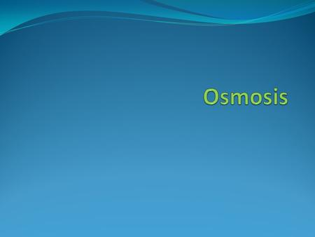What is Osmosis? Osmosis is a form of passive transport (no extra energy needs to be used) where water molecules move down their concentration gradient.