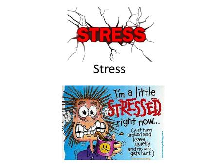 Stress. Stress – the process by which we perceive and respond to certain events, called stressors, that we appraise as threatening or challenging Can.