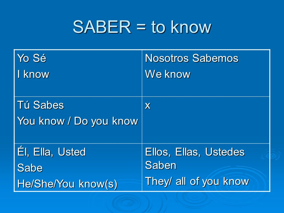 SABER = to know To say you know HOW to do something, use SABER plus an infinitive (not-conjugated verb) Yo sé leer.