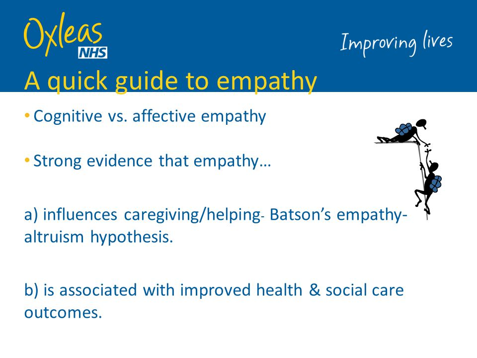 Carer empathy is important People with intellectual disabilities ('service users') value empathy (Clarkson et al.