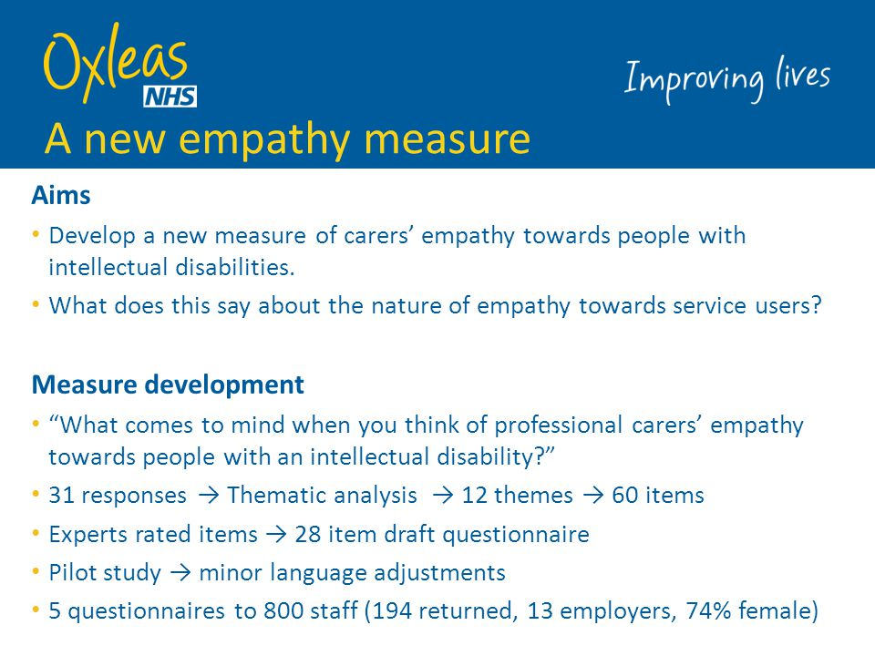 Quantitative study 1.EMP-ID (the new measure) 2.Demographics and nature of work 3.Interpersonal Reactivity Index (IRI): dispositional empathy measure -contains cognitive and affective subscales 4.