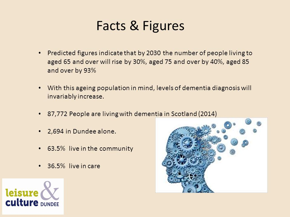 Project Background We recognise continued worldwide increase in dementia diagnosis Dundee City Council's Single Outcome Agreement 2013-2017 reports that people living in Dundee with ill health and frailty are more likely to experience long term conditions associated with ageing at an earlier stage From a user perspective dementia information can be confusing and difficult to navigate (Scotland's National Dementia Strategy: 2013- 2016) Libraries have potential to become major partners in public management of the condition Expands our existing health and wellbeing service portfolio