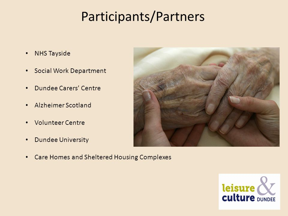 Outcomes Give ease of access to relevant materials to improve health and wellbeing Increase access to health information and resources to help people live better, healthier lives Create a safe, welcoming, non-clinical environment Assist and inform people adjusting to diagnosis Support carers Reading for pleasure tailored to suit dementia context Group activities Counteract loneliness and eliminate perceived stigma relating to the condition