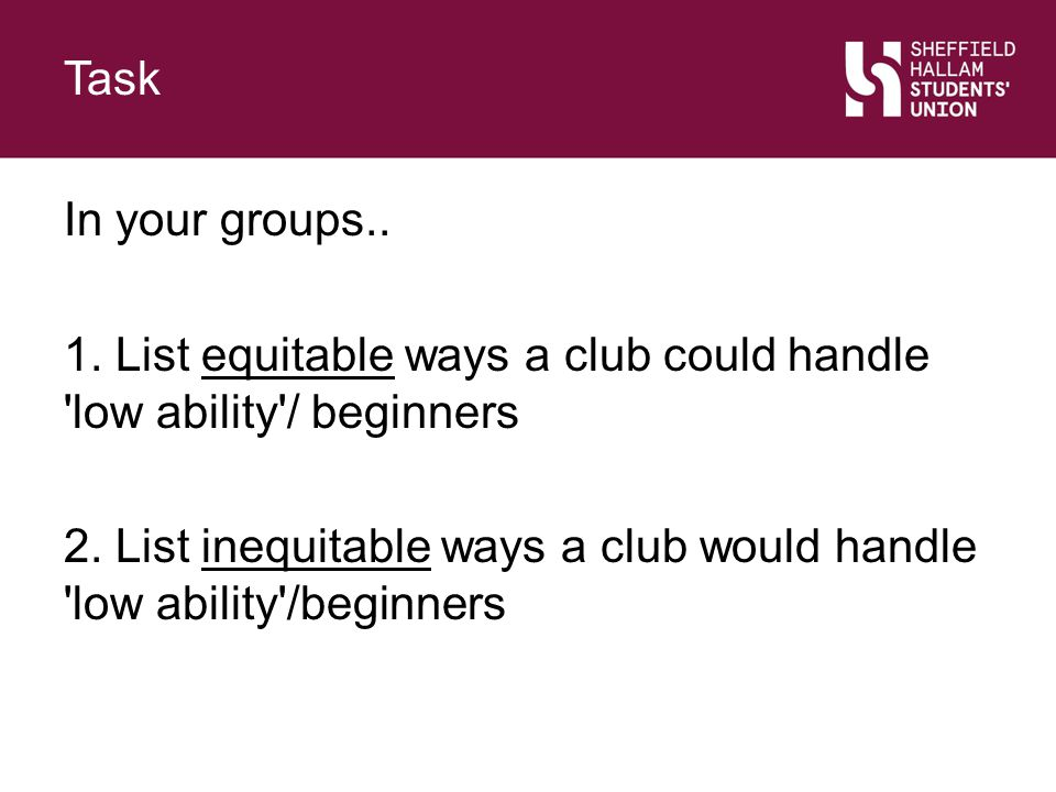 Challenging Inequitable Behaviour Section Title Sub-text explaining section, lorem ipsum dolor est lordem rondus lindum Slide Title As Equal Opportunities Officer you have a responsibility to behave equitably yourself and promote equitable behaviour among your club members.