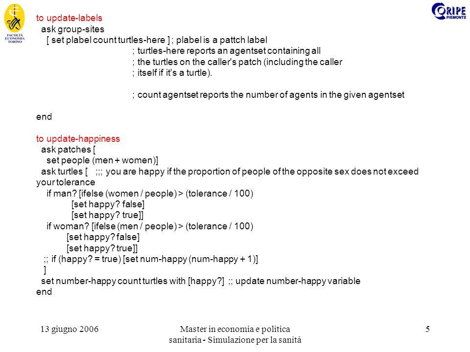 13 giugno 2006Master in economia e politica sanitaria - Simulazione per la sanità 6 to move-if-unhappy ask turtles [ if (not happy?) [ifelse man.