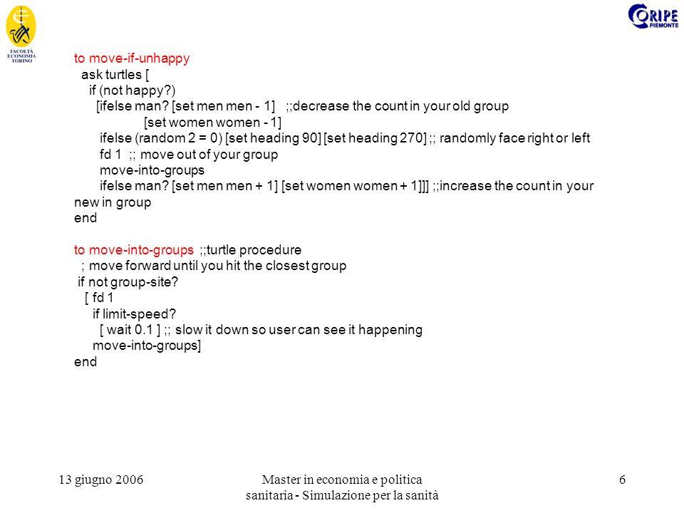 13 giugno 2006Master in economia e politica sanitaria - Simulazione per la sanità 7 to-report group-site.