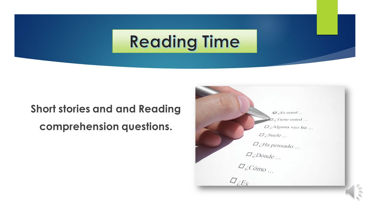 Short stories and and Reading comprehension questions.
