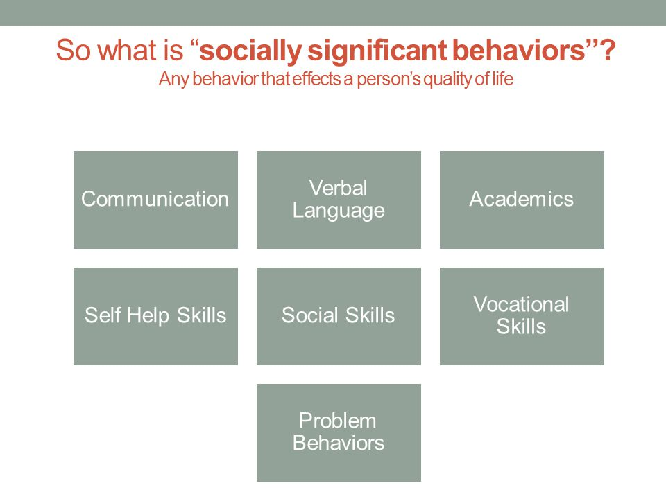 A pplied: ABA takes what we know about behavior and uses it to bring about real-world, meaningful change B ehavior: Behaviors are defined in observable and measurable terms in order to assess change over time A nalysis: Behaviors are analyzed within the environment to determine what factors are influencing the behavior