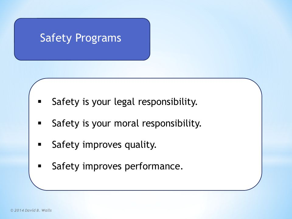 © 2014 David B.Walls World-Class Safety Program Safety Programs Safety Experts B.